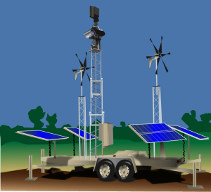Illustration of a self-powered camera and radar platform utilizing solar, wind and battery power.